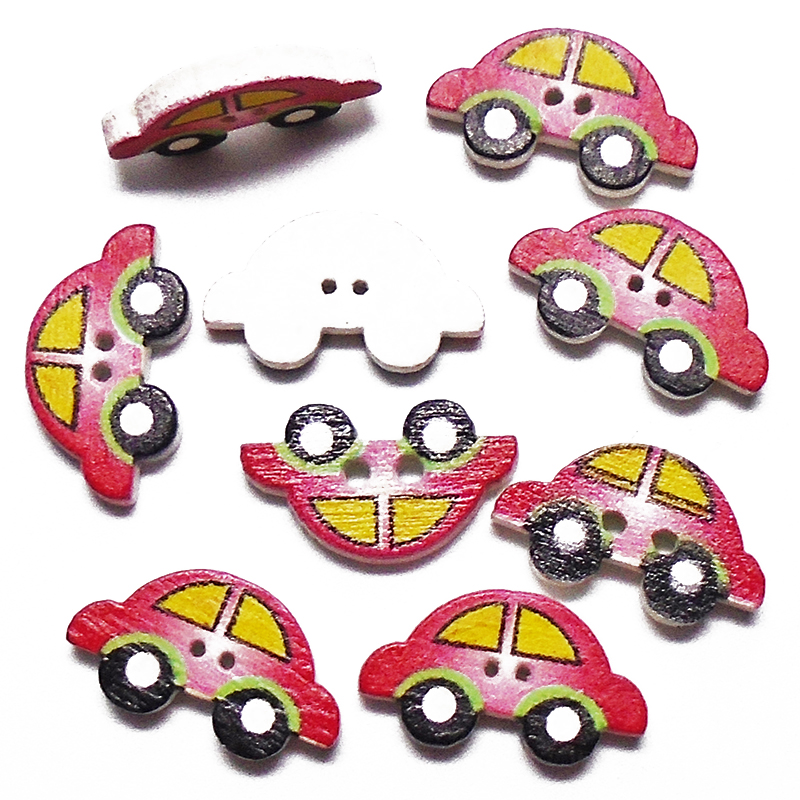 Provided Mixed Vintage Car Painted Wooden Sewing Buttons Handmade Scrapbooking Craft 100pcs 20mm Mt0546 Home & Garden Buttons