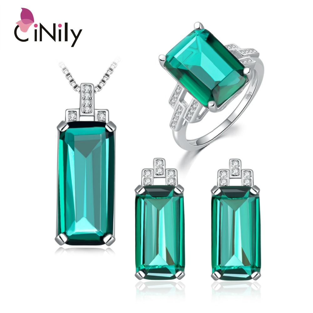 CiNily 925 Sterling Silver Created Red Ruby Emerald Sapphire for Women Jewelry Pendant Earrings Ring Sz 6-9 Jewelry Set ST001-03 1200w 15v 80a single output switching power supply for led strip light ac dc s 1200 15