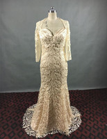 2015 Hot Sale Gorgeous Beaded Lace Mermaid Mother Of The Bride Dress With Jacket Wedding Guest