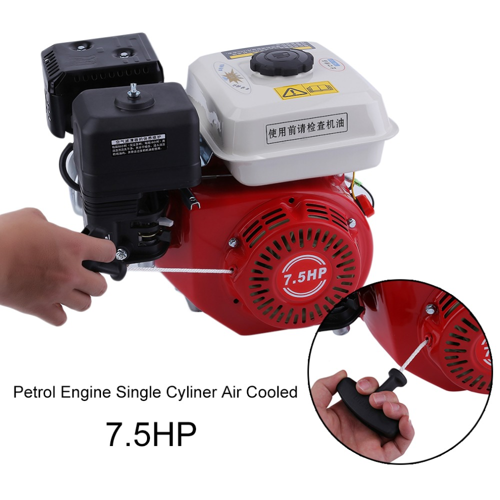 7.5HP Recoil Starting Starter 168F Gasoline Petrol Engine Single Cyliner Air Cooled 4 Stroke Engine Accessories
