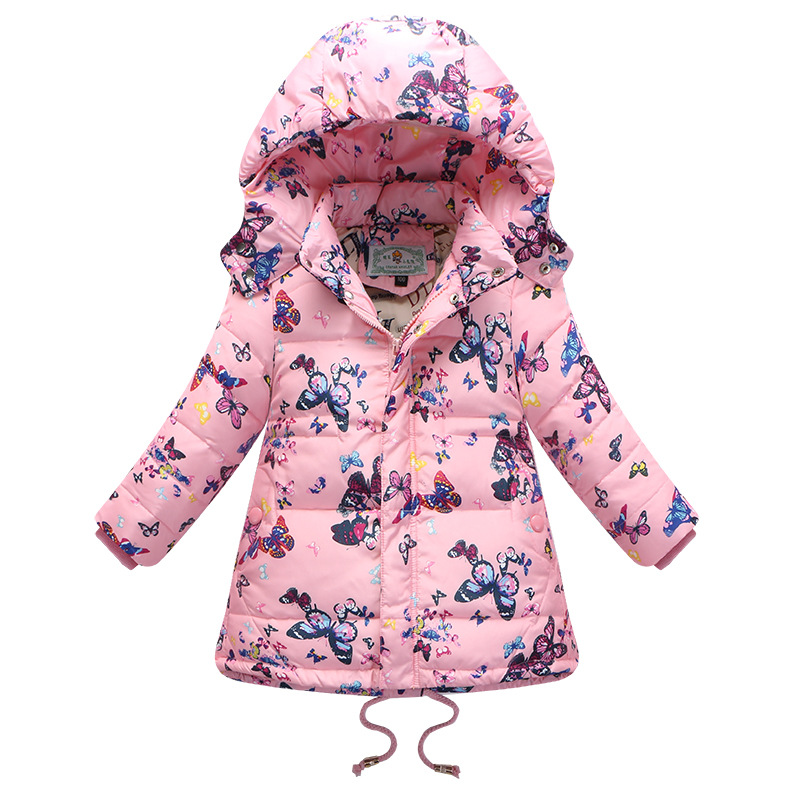 ФОТО Girls Winter Down Coat 2017 New Fashion Children Print Clothing Girls Hooded Butterfly Pattern Warm Hooded Jacket