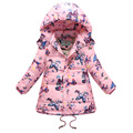 Girls Winter Down Coat 2017 New Fashion Children Print Clothing Girls Hooded Butterfly Pattern Warm Hooded Jacket