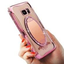 Роскошный блеск Bling Diamond покрытие зеркало для макияжа Мягкий силиконовый чехол для телефона для Samsung Galaxy S7 Edge задняя крышка