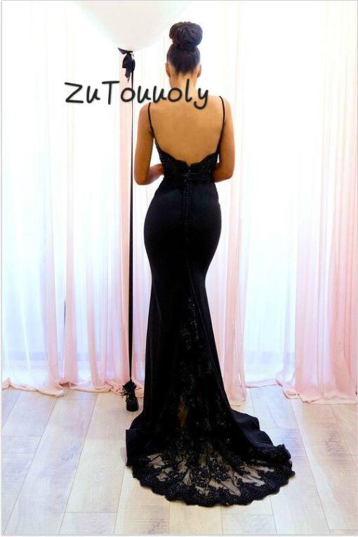 Ingericht Mermaid Zwarte Avondjurk Spaghettibandjes Sexy Backless Lace Sweep Trein Slanke Strakke Prom Jassen 2019 Uk Avondjurken - 2