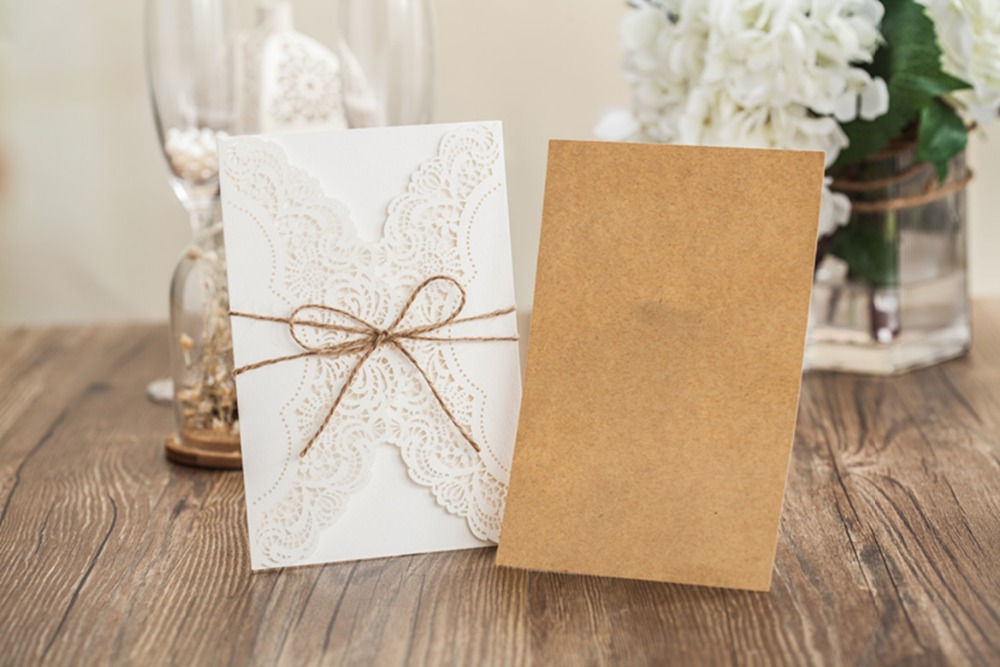 Laser Cut Handmade Wedding Invitations Cards White Marriage ...