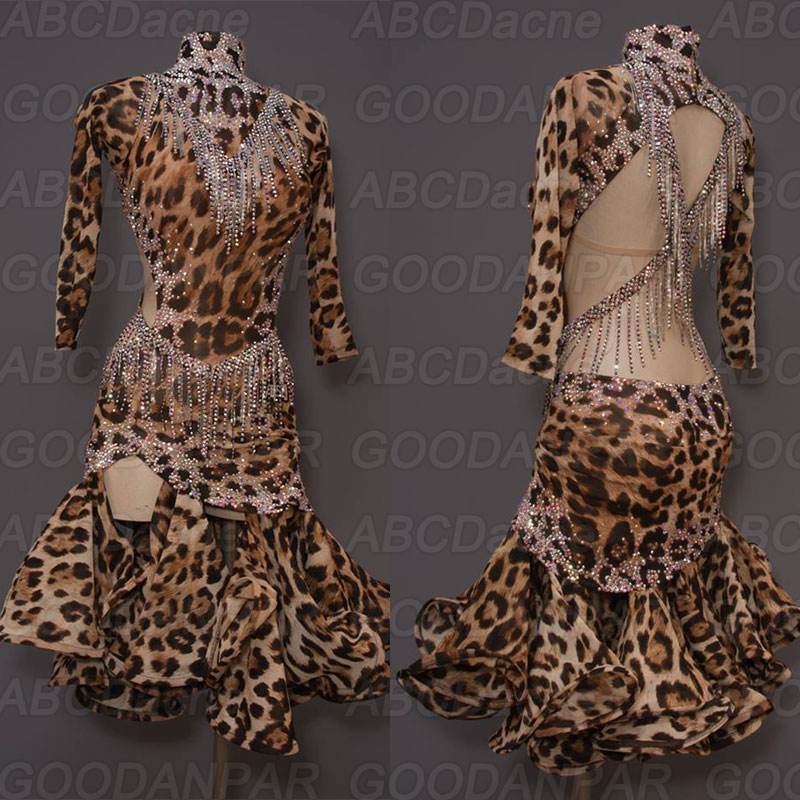 Latin Dance Dress Women, Leopard Sexy Latin Cha Cha Tango Dance Dresses, Custom-mada Handmade Dance Dress.