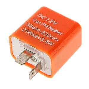 Image 1 - 1 Pcs 12V 2 핀 조정 가능한 주파수 LED 성 노출증 릴레이 차례 신호 깜박이 표시기 대부분의 오토바이 오토바이 액세서리