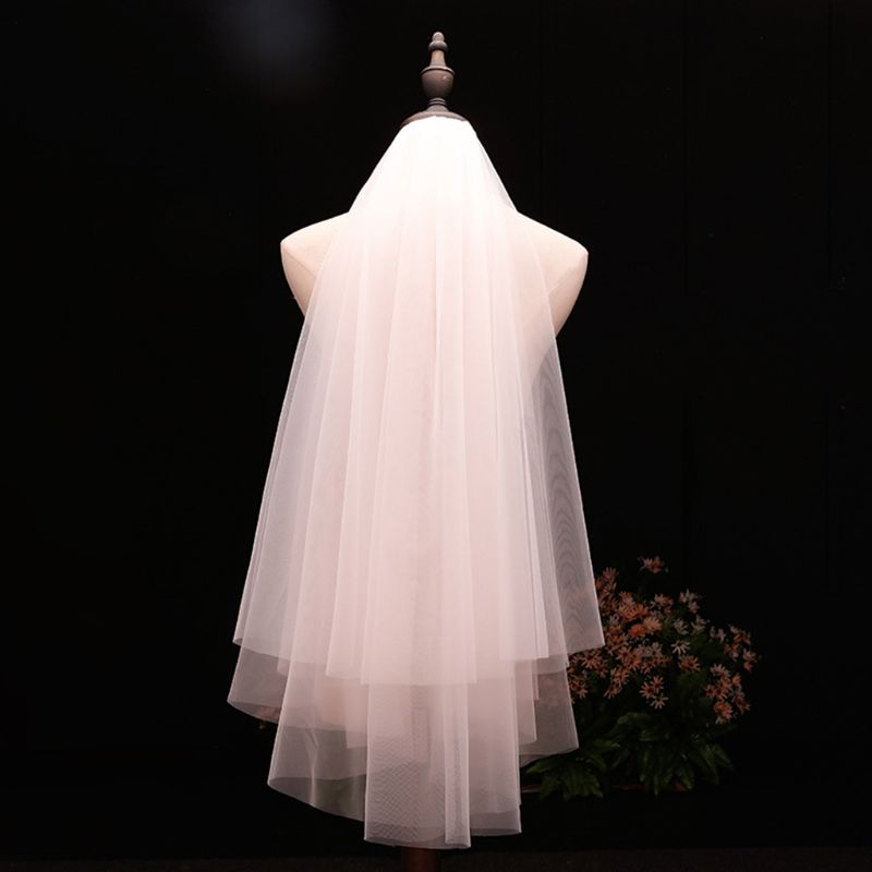 Minimalist Simple Style 2 Tier Double-Layer Women Mesh Fingertip Length Wedding Veil Plain Pleated Drape Bridal Veil With Comb