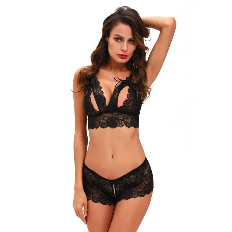 Black/Red Crotchless Bralette Booty Short Lingerie Set Sexy Uniform For Night Bra+Thong Two Piece Set For Sleepwear Nightwear