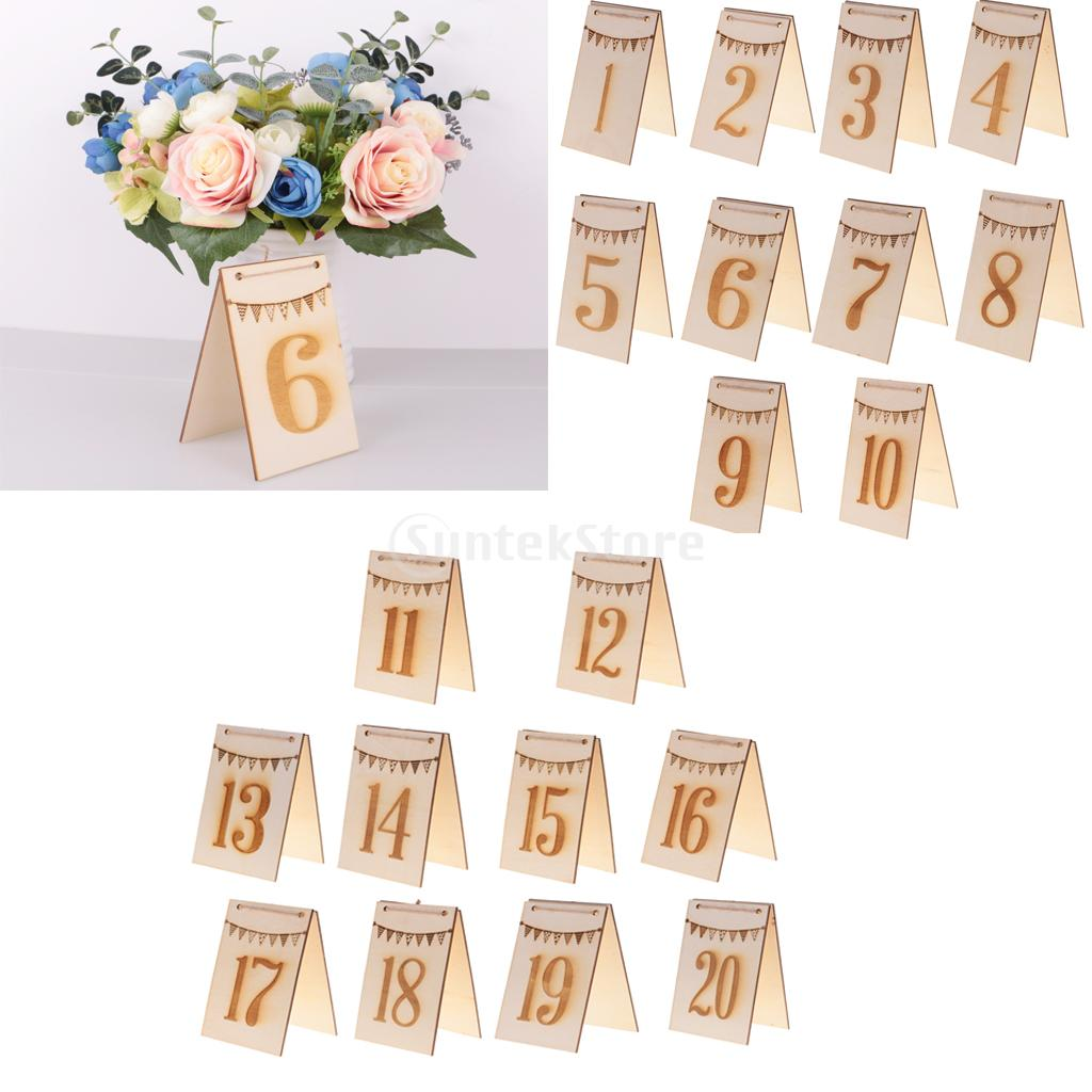 10 Sets Natural Wooden Table Numbers Bunting Engraved Double Side Free Stand for Table Decoration