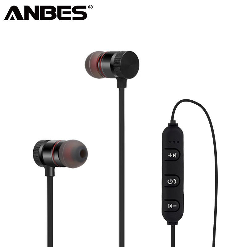 ANBES Bluetooth Headphones Wireless Earphone For Phone Cordless Headset With Magnetic Earpiece Earbuds For S6 iPhone Xiaomi