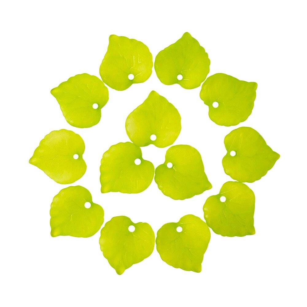 Prix pour 2 Styles Vert Feuille 50 pcs/lot Acrylique En Plastique Bijoux Givré Lâche Pendentif Léger DIY Perle En Gros Feuille Perles En Vrac