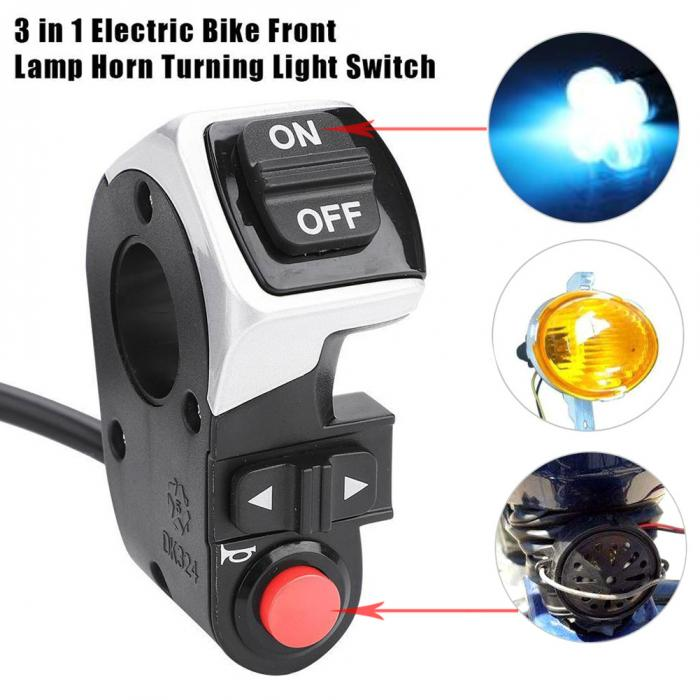 3-in-1 LED Tail Light Scooter E-bike Turn Signal Lamp Electric Bicycle Switch