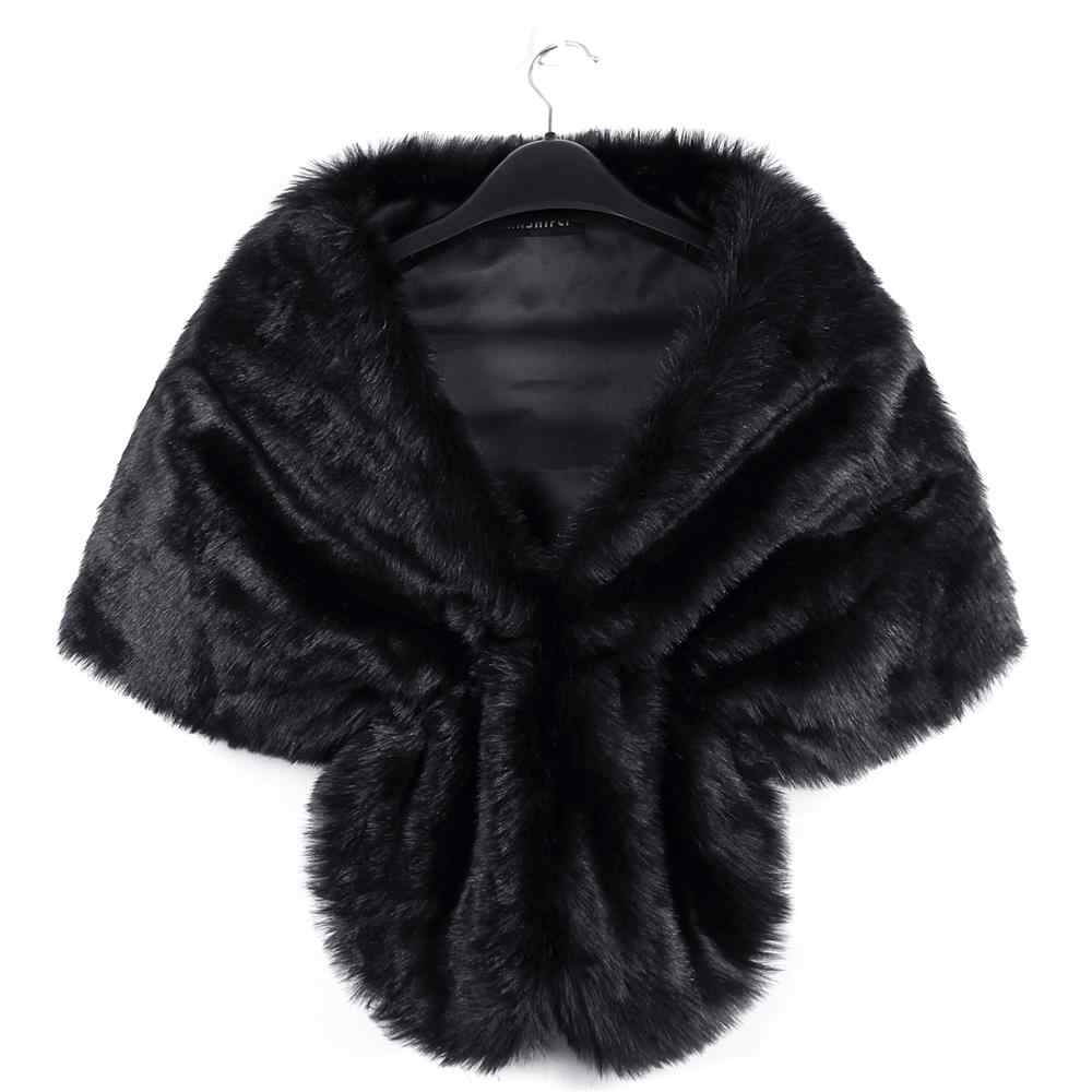 1PC di Modo Elegante Della Pelliccia del Faux Lungo Scialle per Le Donne Wrap Scrollata di Spalle Sciarpa Cappotti di Inverno Delle Donne Caldo Da Sposa Cappotto scialle