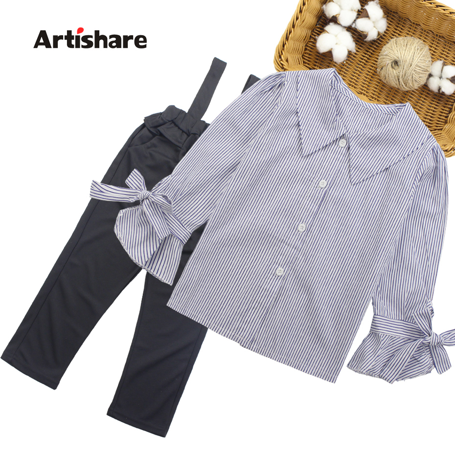 Girls Clothing Set Turn Down Collar Blouse + Jumpsuit 2pcs Clothes For Girls 2018 Autumn Big Girls School Clothes  6 8 10 12 13Clothing Sets   -