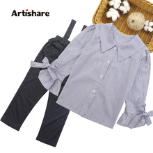 Girls Clothing Set Turn Down Collar Blouse + Jumpsuit 2pcs Clothes For Girls 2018 Autumn Big Girls School Clothes  6 8 10 12 13