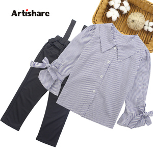 Image 1 - Girls Clothing Set Turn Down Collar Blouse + Jumpsuit 2pcs Clothes For Girls 2018 Autumn Big Girls School Clothes  6 8 10 12 13
