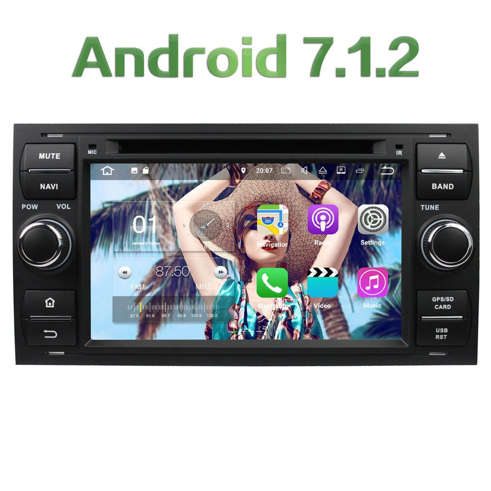 Quad-Core Android 7.1.2 2GB RAM 4G WIFI DAB+ SWC Car DVD Player Radio Stereo For Ford Focus Fusion Mondeo Connect GPS Navigation