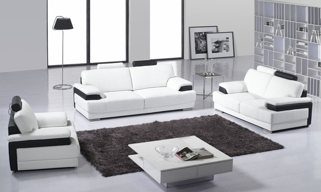 Free Shipping Clic 123 Sectional Living Room Sofa Top Grain Leather Solid Wood Frame