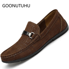 2019 new fashion mens shoes casual genuine leather loafers man brown black slip on shoe flat driving for men hot sale
