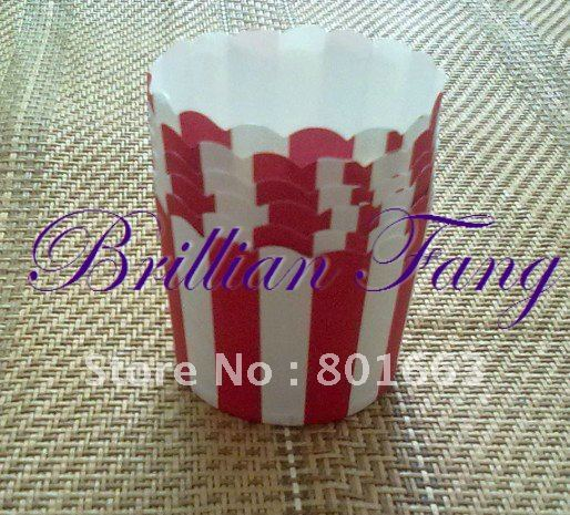 Free Shipping + 2000pcs/box Large Muffin Cake Paper Cases cupcake Cups Red and White Stripe