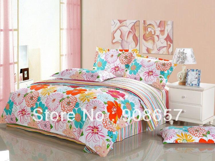 pink orange flower stripes prints cotton bedding bed linens s bed set full quilt