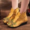 Botines de Cuero genuino Para Las Mujeres Flor de La Vendimia de Las Mujeres Hechas A Mano De Cuero Zapatos Cuñas Botas Cortas de Estilo Nacional