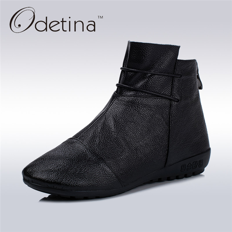 Odetina 2017 New Arrive Vintage Genuine Leather Women Ankle Boots Round Toe Spring Autumn Winter Warm Flat Booties Fashion Shoes odetina fashion genuine leather ankle boots flat woman round toe platform lace up boots autumn winter casual shoes big size 43