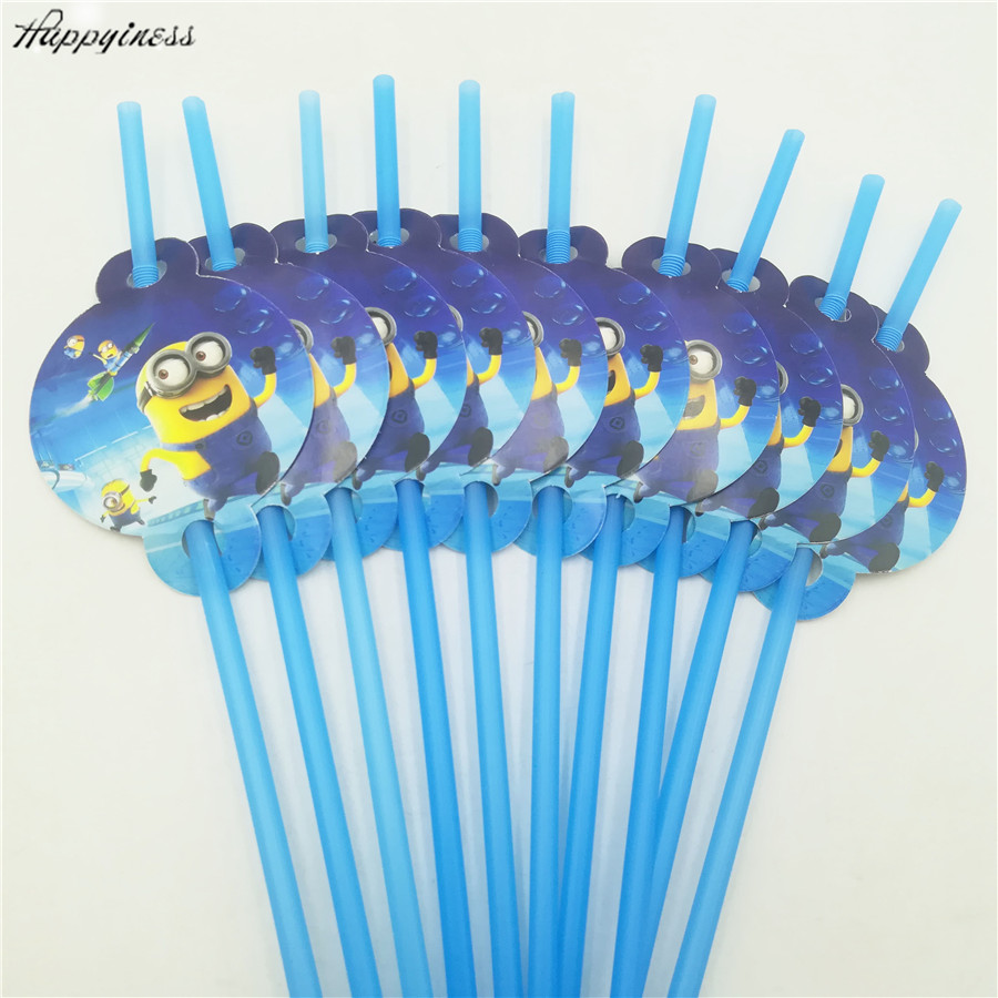 HOT 10pcs Bag Minions Party Supplies Drinking Straws Kids Birthday Decoration Baby Shower