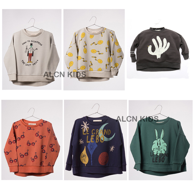 Bobo Choses Camisolas T-shirt Crianças Outono Inverno Patter Coelho Óculos Grosso Camisola Das Meninas Dos Meninos Da Criança Do Bebê Encabeça Crianças