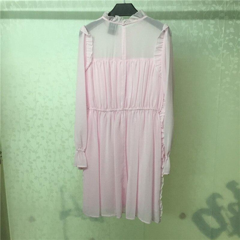 longueur Pour Mode Rose Bureau Robe Femmes Printemps Nouvelle Qualité Top Dame 2018 Genou Les cu5lKFJT13