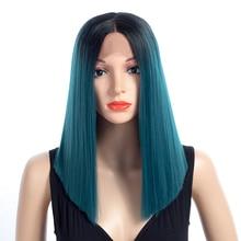 Aigemei волоконно-клеєні довгі прямі кольори Омбр Синтетичні мереживні перуки для жінок