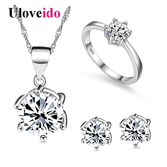 40% off Bridal Wedding Jewelry Sets Silver Color Jewelry Earrings Ring Necklaces