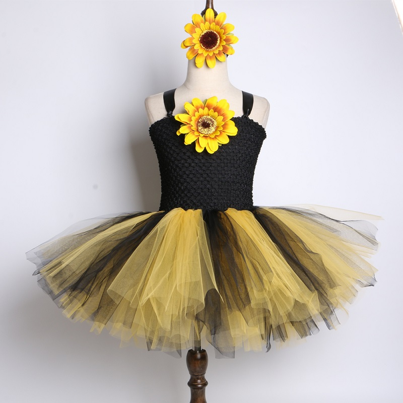 b795ac04d3b64 US $15.96 40% OFF|SunFlower Flower Girls Tutu Dress Black Yellow Tulle Baby  Girls Birthday Party Dress Children Halloween Costume for Kids Girls-in ...