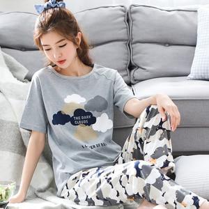 Image 5 - Pijama de verão masculino, manga curta 100% algodão, casual, impressão de casal, conjunto, roupa de dormir, plus size 3xl