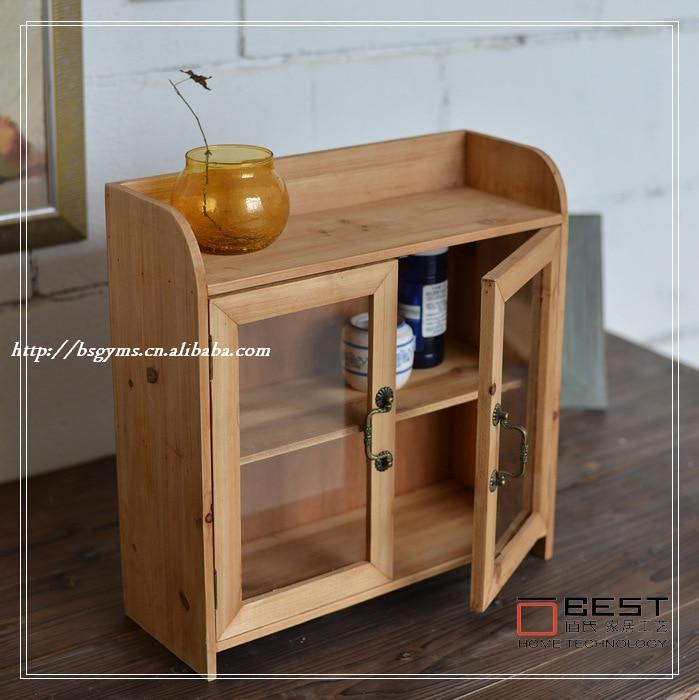 Zakka Household Grocery Old Wooden Storage Cabinets Glass Door