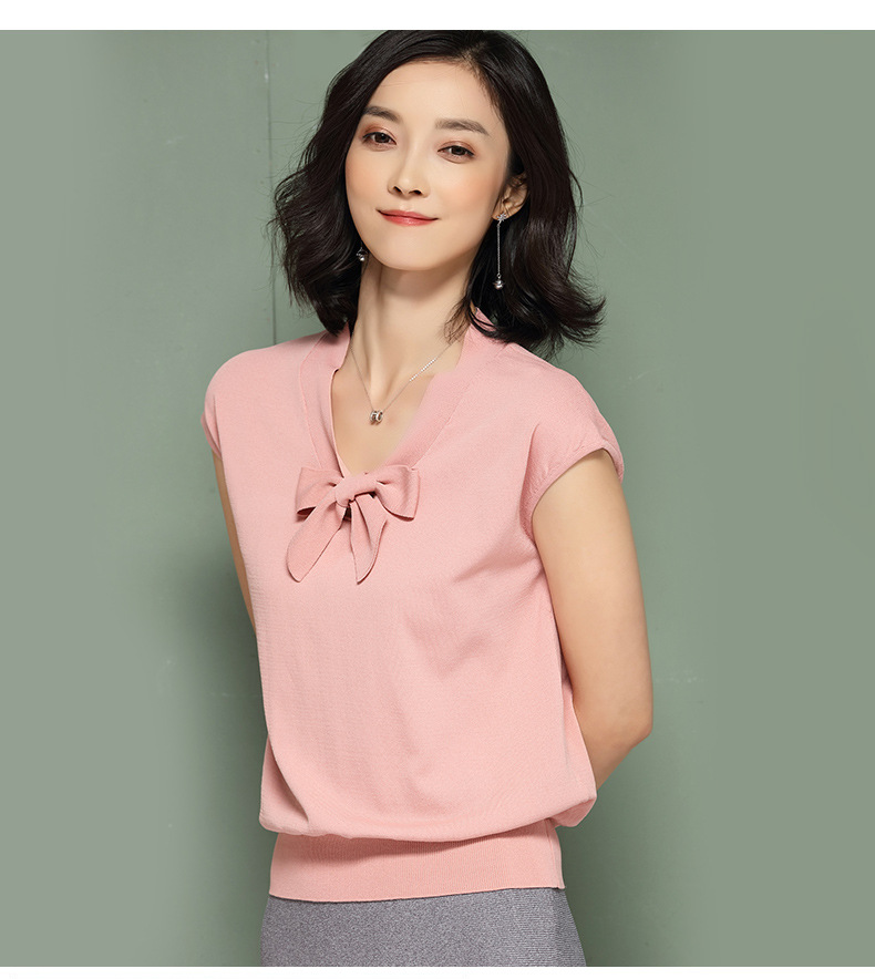 Women short sleeve knitting woman top for spring&summer solid color women blause