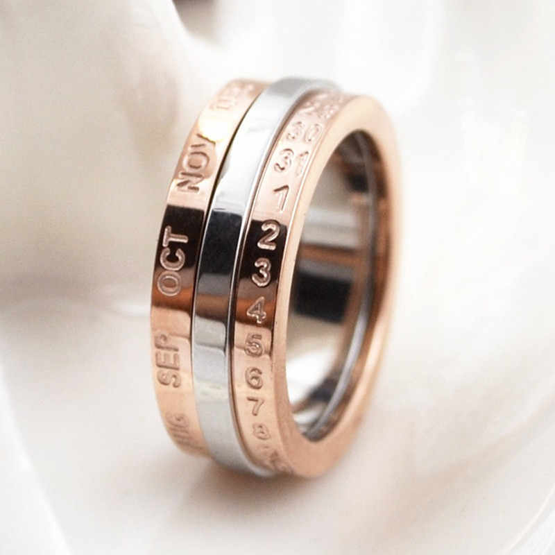 6mm Creative Rotatable ring titanium steel rose gold letters ring wedding ring silver white rotatable new arrival