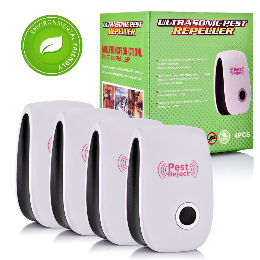 4 2 Pcs Mosquito Killer Pest Control Ultrasonic Pest Repeller Electronic Anti Rat Mouse Repellent Mice Rodent Cockroach US/UK/EU