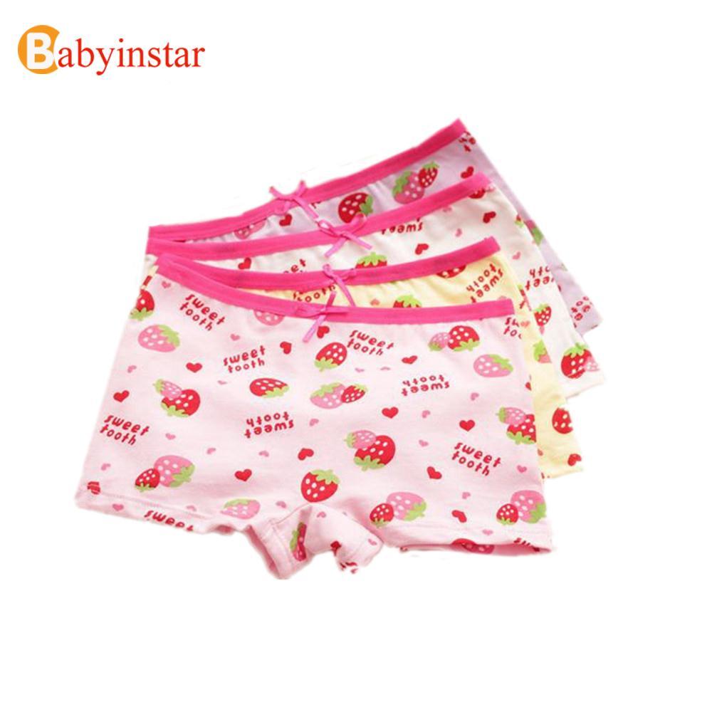 イチゴパンティー 子供underwear女の子ボクサーロット子供綿かわいいイチゴプリントパンティー6ピース/ロット子供