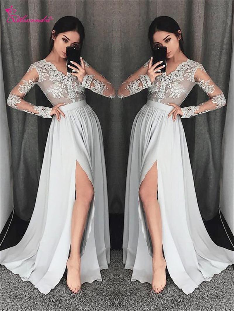 Alexzendra argent mousseline de soie robes de bal col en V manches longues robes de soirée fente latérale