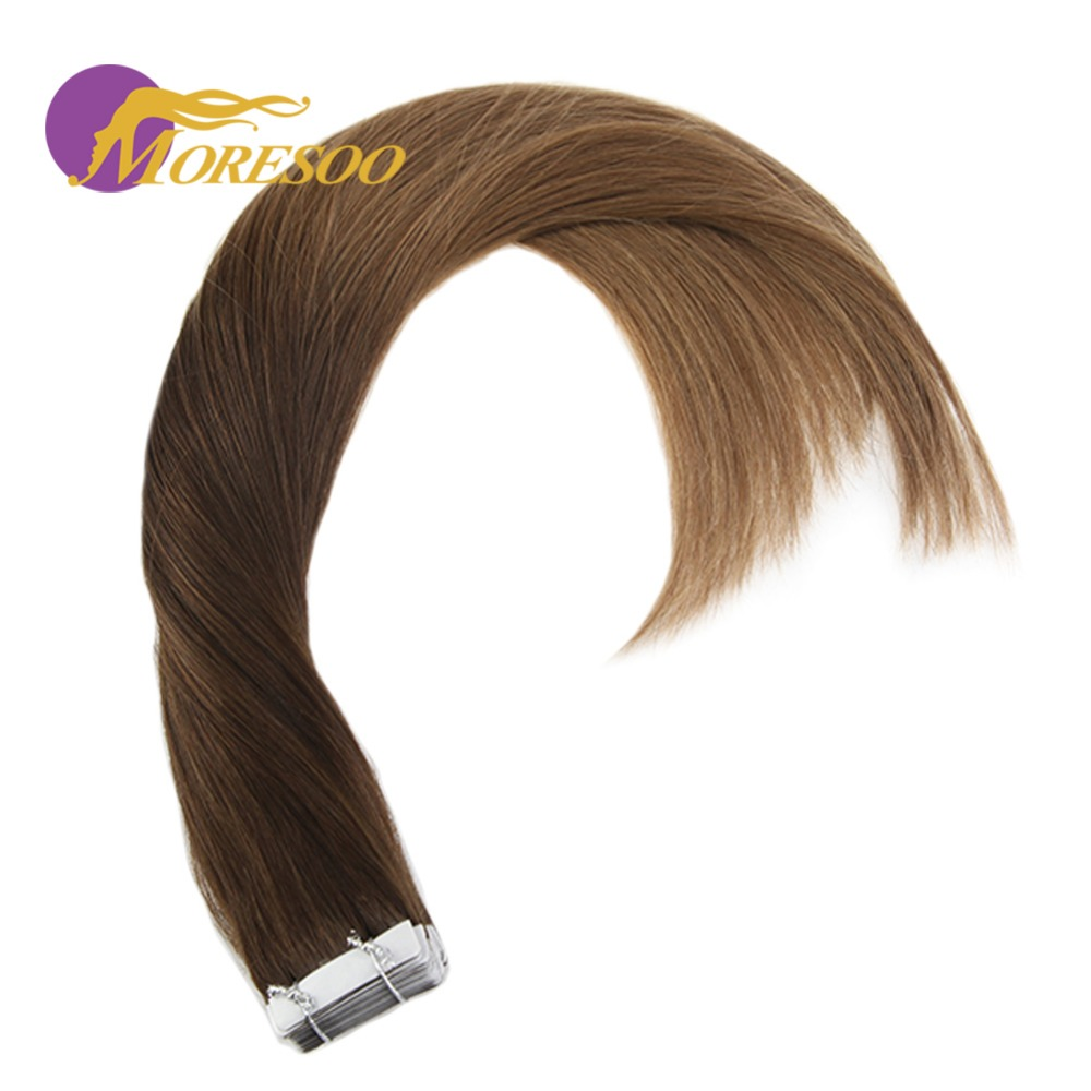 Moresoo Ombre Tape In Hair Extensions Remy Straight Hair Skin Weft Tape Color 3 Brown Fading To 6 Medium Brown Human Hair