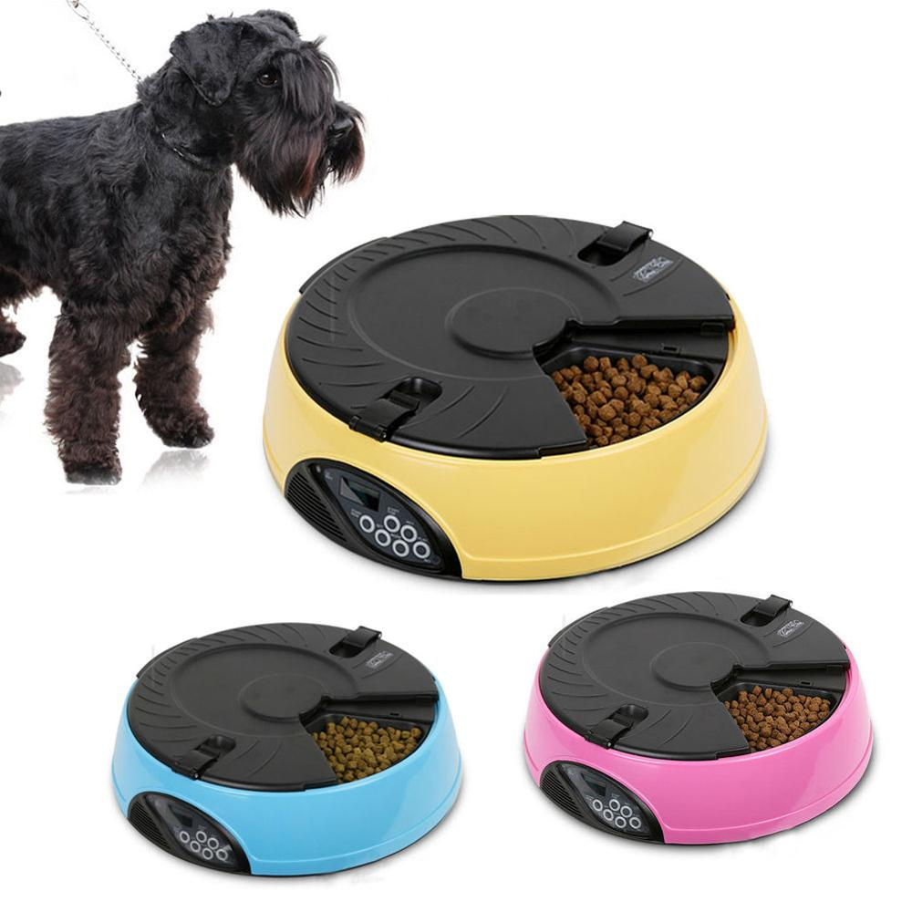 Newest Automatic Pet Feeder Dog Cat 6 Meals Programmable Digital Timer Pet Food Bowl automatic pet feeder dispenser feed food for dog cat wifi recording with 720p wifi camera phone wireless control feeder easy set