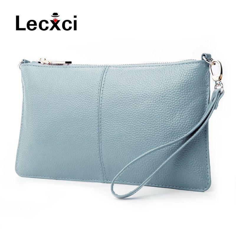 Ladies genuine leather handbag Clutch Shoulder Crossbody Bag 7colour womens purse with Chain Shoulder Strap&Leather Wrist