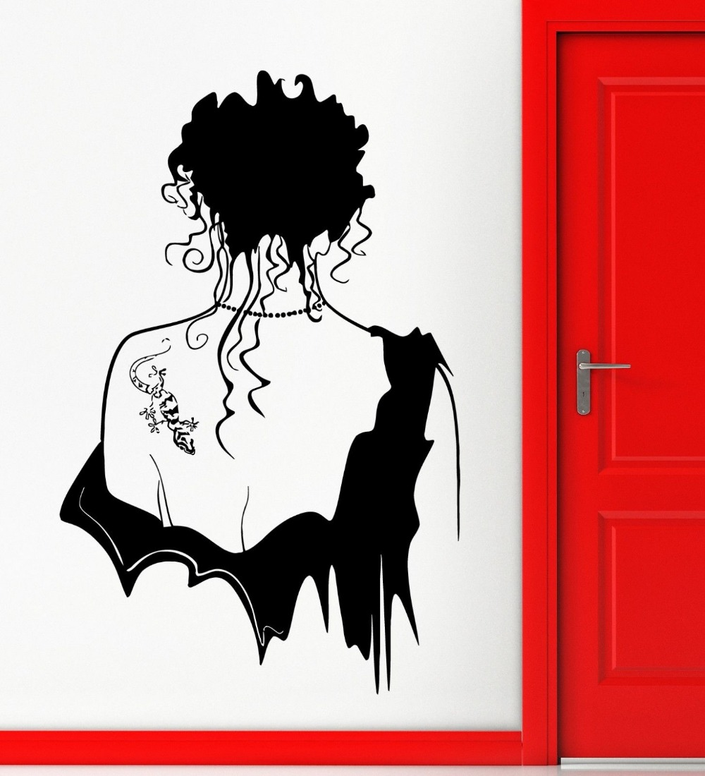 Modern Creative Home Decor Wall Stickers Vinyl Decal Hot Sexy Girl Gothic Beautiful Tattoo Decors Easy Removable GW-107