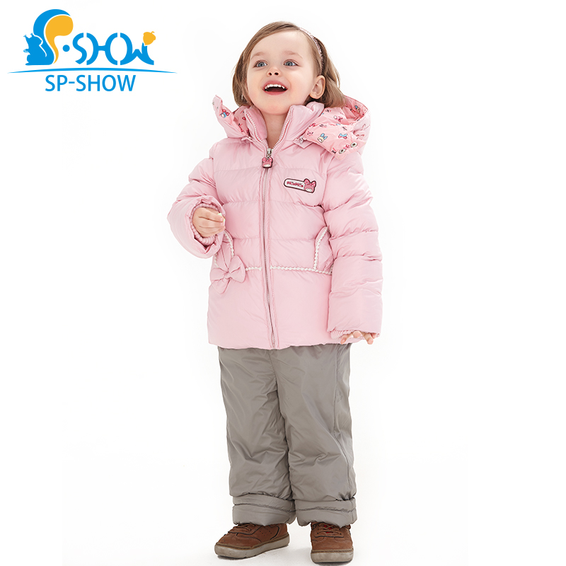 SP-SHOW Winter Children Clothes sets duck down Jacket Thick Warm with fleece Girl Hooded Thick Down Coat + Trousers 86001 цены