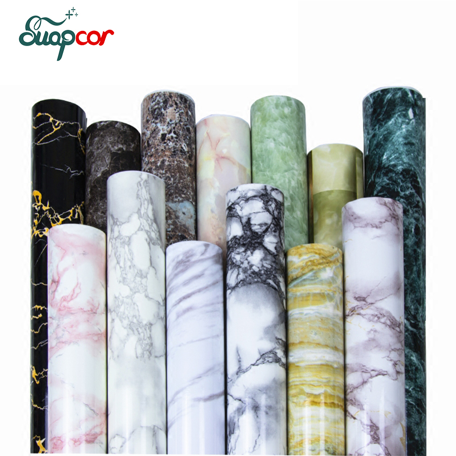 Classic Marble Decorative Film PVC Self Adhesive Wallpaper Bathroom Waterproof Stickers Living Room TV Background Wall Stickers