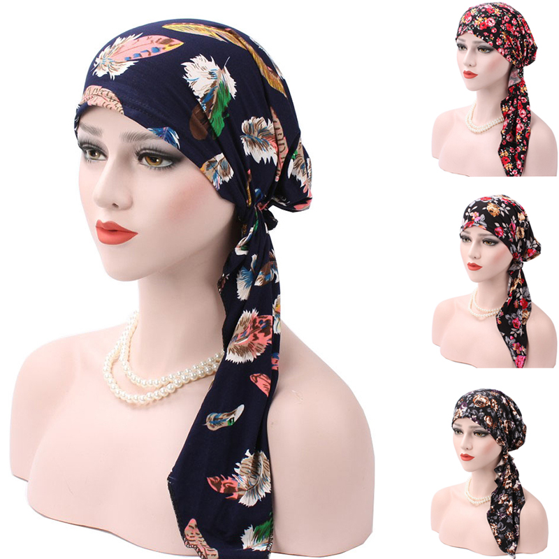 Cheap 2017 New Spring Women Printing Cancer Chemo Hat   Beanie   Scarf Turban Colorful Head Wrap Cap   Skullies   &   Beanie