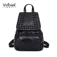 Genuine Leather Luxury Women Backpack Travel School Bags For Teenage Girls Small Laptop Backpack Rivet Casual