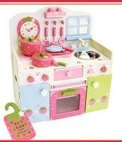 Бесплатная доставка! Деревянные игрушки мать часы с цветами игрушки для игрушечной кухни набор столешница с фартуком для девочек ролевые и